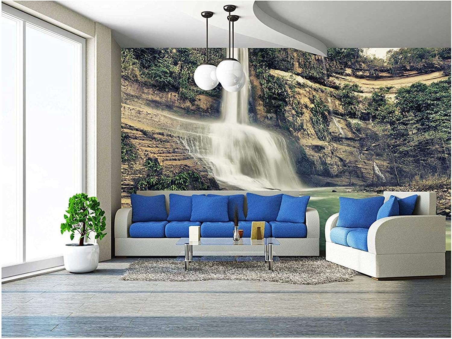 Wall26 Beautiful Waterfall Vintage Style Bohol Philippines Removable Wall Mural Self Adhesive Large Wallpaper 66x96 Inches Amazon Com