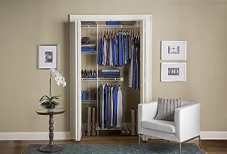 Rubbermaid Organisateur de penderie, 9 à 1,5 m, étagères et tringles, système de rangement pour placard, blanc