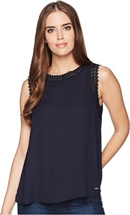 Ivanka Trump Georgette Sleeveless with Lace Arm Hole Trimming