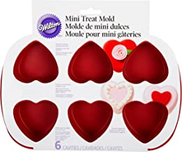 Wilton Mini Silicone Heart Mold, 6-Cavity Mold for Heart Shaped Cookies and Candy