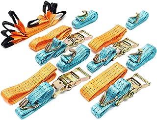 Wiltec Spanngurte 4er Set für den Autotransport, 50mm x 3m, 3000 daN, Zurrgurte zur Radsicherung