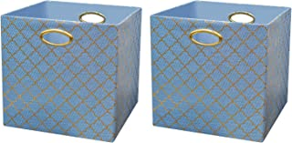 Posprica Storage Bins, Storage Cubes,13×13 Fabric Drawers Organizer Basket Boxes Containers (2pcs, Lotus Leaf lace-Blue)