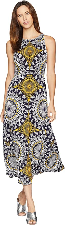 Neck Pleat Matte Jersey Print Maxi
