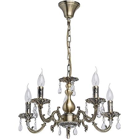 MW-Light Lustre Classique à 5 Branches en Métal couleur Bronze Antique avec Lampes en Forme de Bougies décoré de Pampilles en Cristal pour Salon Salle à Manger Chambre 5x60W E14