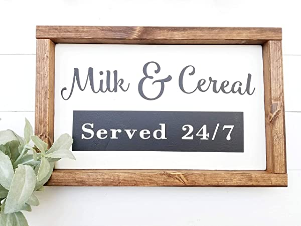 Xusmimo Kitchen Decor Kitchen Signs Farmhouse Decor Framed Signs Milk And Cereal Sign Dining Room Decor Framed Wood Sign Cottage Decor