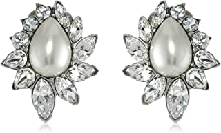 Glass Pearl and Swarovski Crystal Clip-On Earrings for Bridal Wedding Anniversary