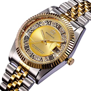 PASOY Unisex Stainless Steel Watch Luminous Hands Diamond Dial Gold Quartz Mens Womens Waterproof Watches