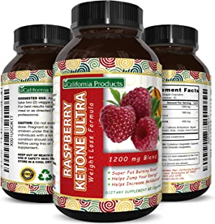 Blend of Raspberry Ketones, Green Tea Extract and African Mango – Lose Weight Faster – Natural Ingredients to Speed Up Weight Loss, Suppress Appetite & Burn Fat – 60 Capsules by California Products