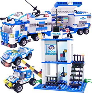 WishaLife 756 Pieces City Police Mobile Command Center Truck Building Toy, Police Car Toy, City Sets with Cop Car & Patrol Vehicles for Boys and Girls 6-12