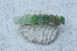 مشبك شعر فرنسي مصنوع من زجاج البحر الأخضر الأصلي من بريتي شيدز