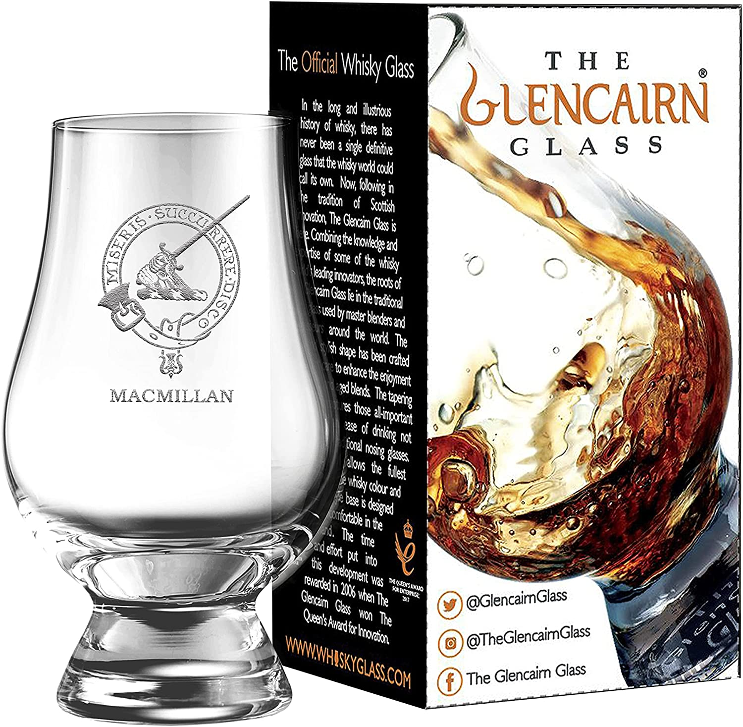 Clan Crest Limited time cheap sale MacMillan Engraved Glencairn in Car Gift Popular products Glass Whisky