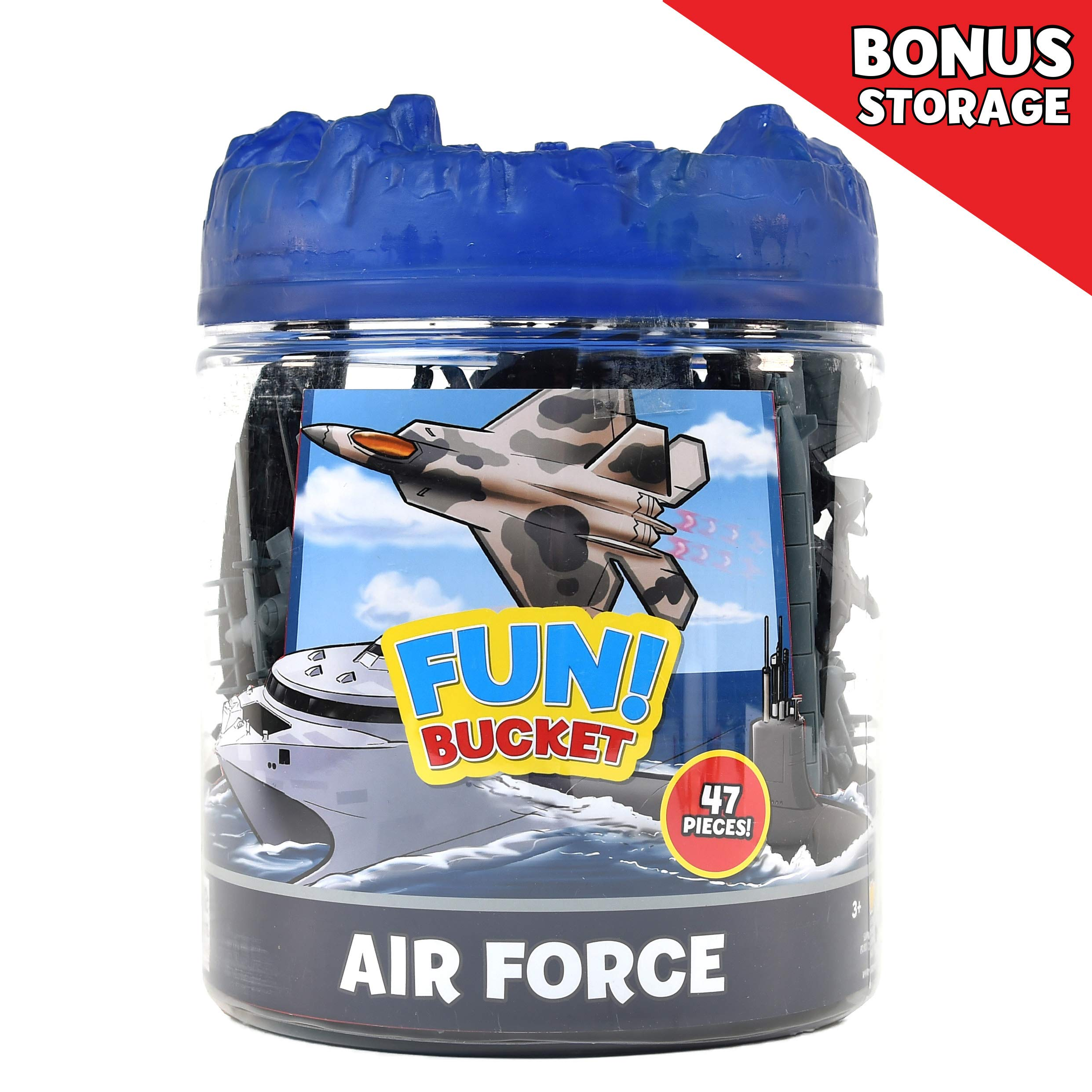Sunny Days Entertainment Military Air Force Bucket – 47 Assorted Battleships and Accessories Toy Play Set for Kids, Boys and Girls | Plastic Boat and Plane Figures with Storage Container