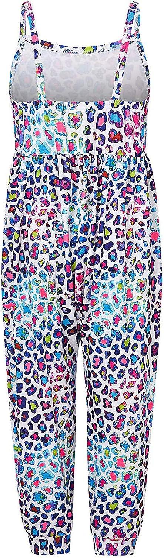 ZYUEER Femmes Combinaison Dos Nu sans Manches Imprim/é Floral Camisole Barboteuse Jumpsuit d/ét/é Chic Slim Pantalon Taille /élastique Casual Combishort avec Poches