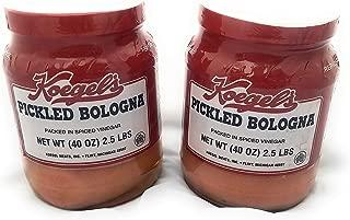 Koegels pickled bologna packed in spiced vinegar, 40-oz plastic jar, refrigerate after opening
