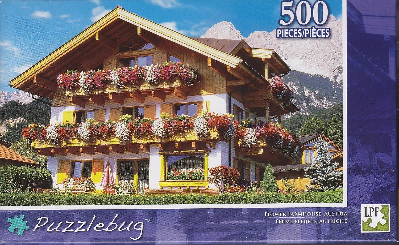 Flower Farmhouse Austria  Puzzlebug  500 Pc Jigsaw Puzzle  NEW