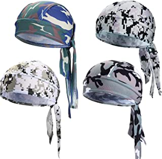 Chuangdi Sweat-Wicking Beanie Cap Skull Cap, Quick-Drying Pirate Hats for Men and Women Favors (Camouflage Caps, 4 Packs)
