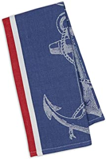 Design Imports Maritime Table Linens, 18-Inch by 28-Inch Dishtowel, Anchor Jacquard
