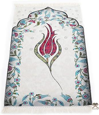 Muslim Prayer Rug, Turkish Islamic Mats, Ramadan Gifts Women, Men, Kids, Portable , Small Salah Carpet, Red 46 x 27 inch