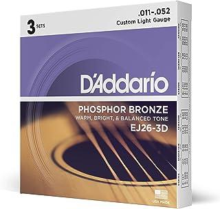 أوتار الغيتار الصوتية دي آداريو EJ26، ضوء مخصص (3 عبوات) - برونز فوسفور مقاوم للتآكل، يوفر نغمة صوتية دافئة ولامعة ومتوازن...