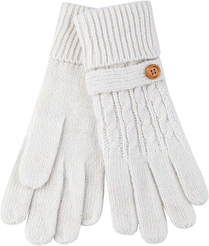 Aran Fine Knitted Irish Gloves With Wooden Button, Cream Colour