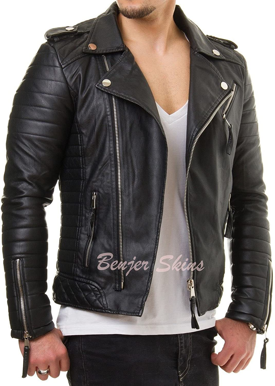 Men's Stylish Lambskin Genuine Leather Jacket 434