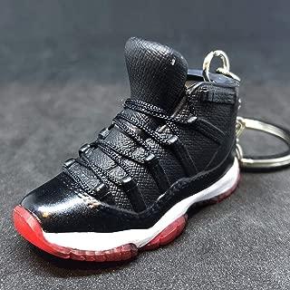 Air Jordan XI 11 Retro Bred Black Red OG Sneakers Shoes 3D Keychain 1:6 Figure
