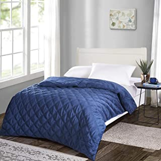 JOLLYVOGUE Weighted Blanket Duvet Cover 60x80Inches, Cozy Soft Removable Minky Dot Cover Machine Washable with Zipper and 8 Ties-Navy Blue