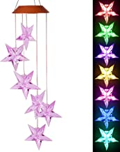 xxschy LED Solar Purple Stars Wind Chimes Outdoor - Waterproof Solar Powered LED Changing Light Color 6 Purple Stars Mobile Romantic Wind-Bell for Home, Party, Festival Decor, Night Garden Decoration