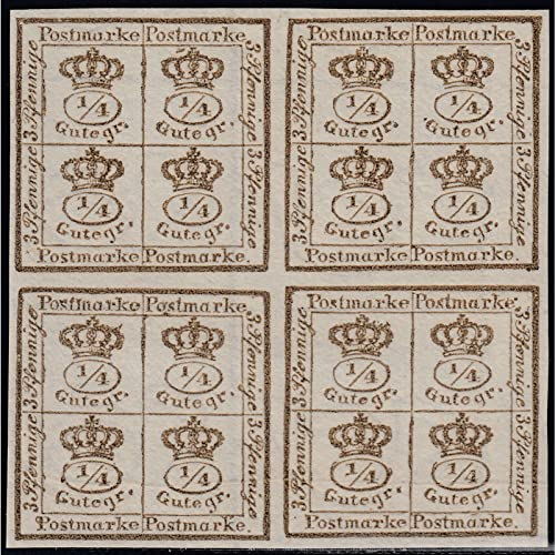 Goldhahn BraunschWeiß 4 4 Gutegroschen ungestempelt im Viererblock Briefmarken für Sammler