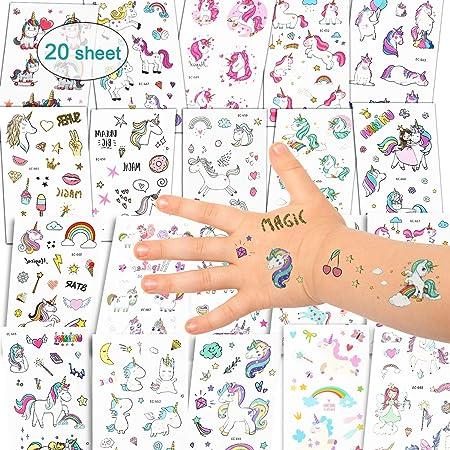 Etiquetas adhesivas Unicornio Tatuajes Temporales - Unicornio Regalos para Niños, Impermeables Tatuajes de Unicornio Mejores Regalos de Cumpleaños para Niñas y Niños, Más de 300 Tatuajes Adhesivos