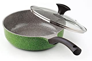 Cook N Home 3-Quart 9.5-Inch/24cm Nonstick Ceramic Coating Deep Saute Stir Fry Pan Wok with Lid, Green