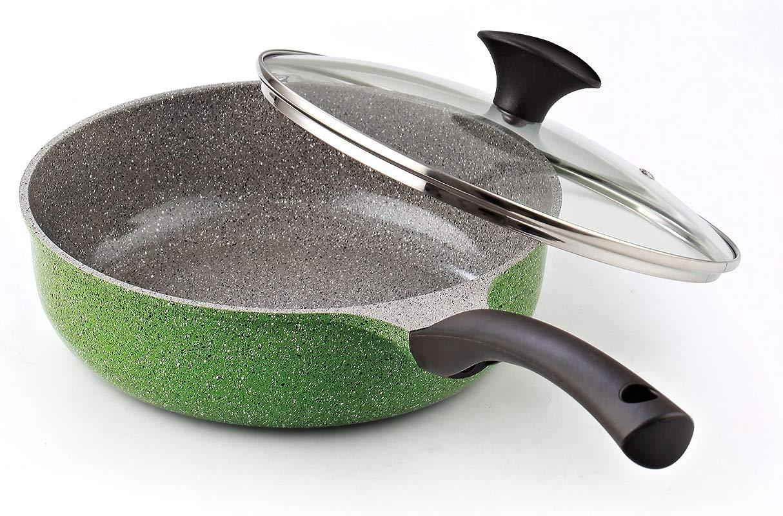 Cook N Home 3 Quart 9 5 Inch 24cm Nonstick Ceramic Coating Deep Saute Stir Fry Pan Wok With Lid Green