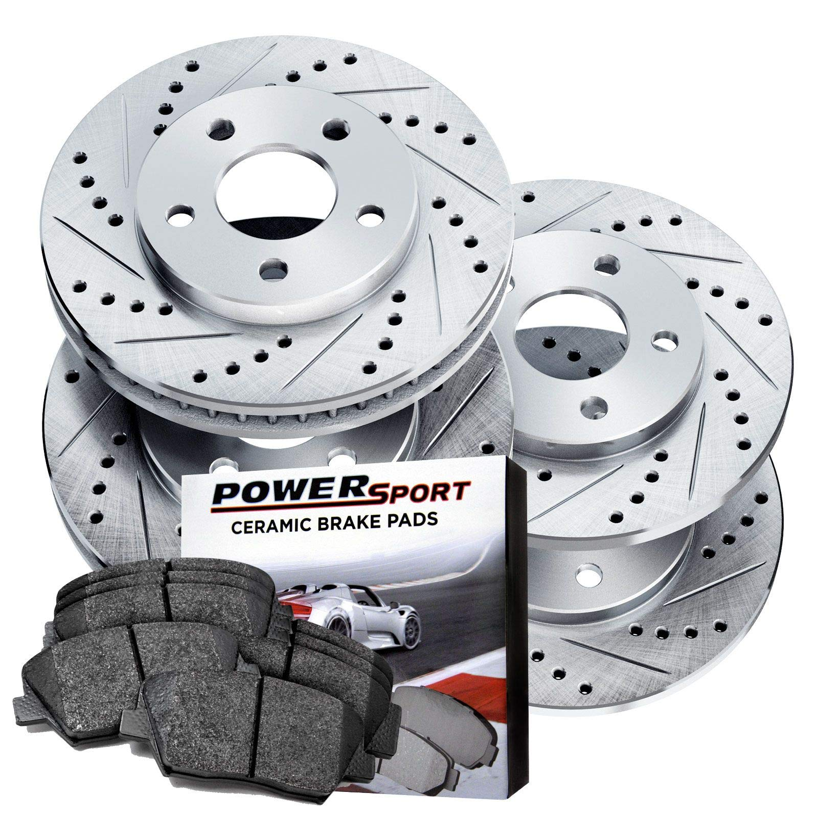Power Stop K2282 Front Ceramic Brake Pad and Cross Drilled//Slotted Combo Rotor One-Click Brake Kit