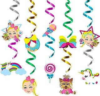 PANTIDE 30Ct JoJo Hanging Swirls Decorations - Rainbow JoJo Bow Unicorn Glitter Foil Whirls Ceiling Swirls Streamers Party Decoration Supplies for Kids JoJo Themed Birthday Baby Shower