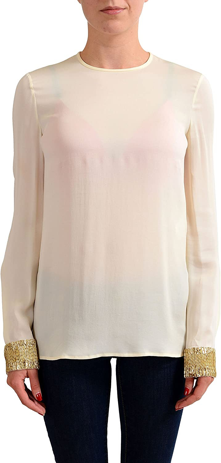 Dsquared2 Women's Ivory 100% Silk Long Sleeve Blouse Top US S IT 40