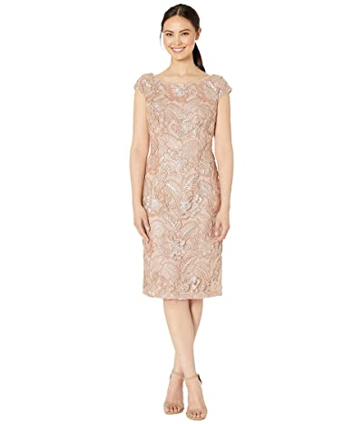 Alex Evenings Midi Embroidered Dress with Sequin Detail (Rose Gold) Women
