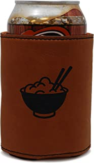 MODERN GOODS SHOP Leather Can Cooler With Rice Engraving - Oil, Stain, and Water Resistant Beer Hugger - Standard Size Beer and Soda Can Sleeve