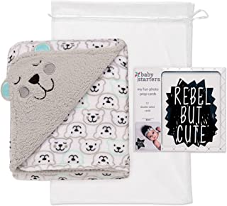 Baby Starters 2 Ply Embroidered Baby Blanket and 12 Piece Photo Prop Cards Gift Set for Newborns and New Moms (Black and White, 30