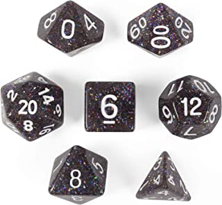 Sparklier Vomit Complete Set of 7 Premium Glitter Polyhedral Dice Edition with More Sparkles - Compatible with Most Tabletop RPG Board Games, Comes with Clear and Labled Display Box