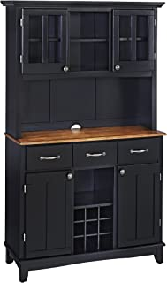 Buffet of Buffets Black with Cottage Oak Wood Top with Hutch by Home Styles, Large Server with Cottage Oak Wood Top & Hutch