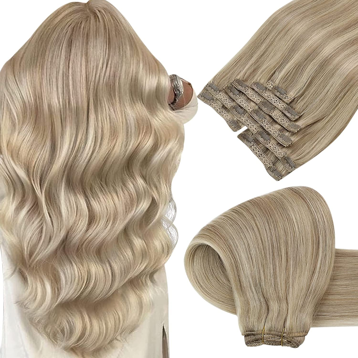 Sunny Super popular specialty store Real Hair Extensions Clip Ash Human Blonde in Be super welcome