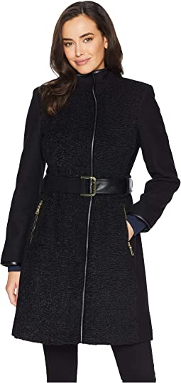 Belted Mixed Media Wool Coat R1181