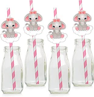 Pink Elephant Paper Straws - Girl Baby Shower Decorations Supplies - Set of 24