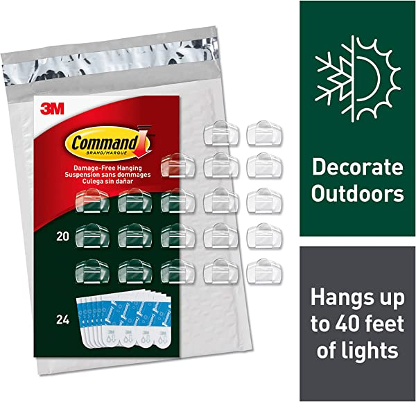 Command Outdoor Light Clips Clear 20 Clips 24 Strips AW017 20NA