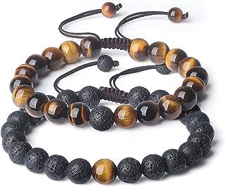 Bundle of 2,COAI Onyx Howlite Tiger Eye Bracelet and Turquoise Lava Stone Bracelet