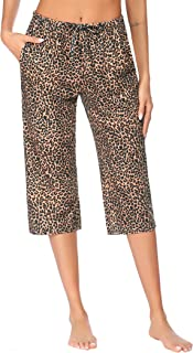 Women's Pajama Pants Comfy Lounge Capri Drawstring Pj...