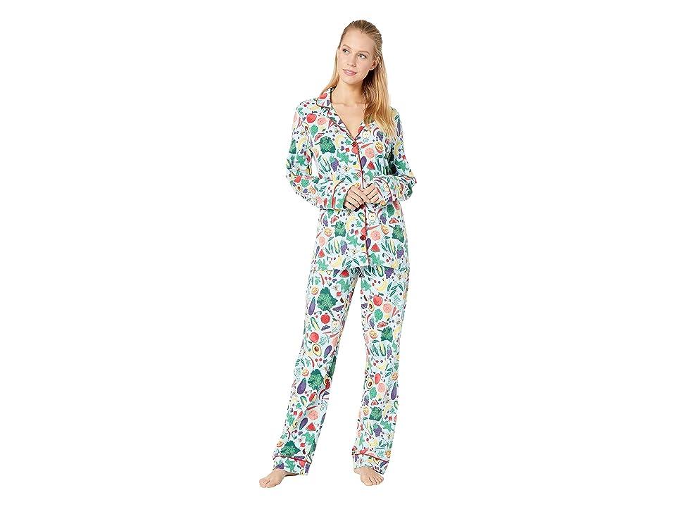 BedHead Pajamas Long Sleeve Classic Notch Collar Pajama Set (Fruits/Veggies) Women