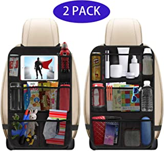 Car Seat Organizer, 2 Pack Large Car Back Seat Organizer for Baby Child with Touch Screen Tablet Holder, Kick Mats Backseat Protectors with Pockets for Travel Accessories, Toys, Bottle, Drinks