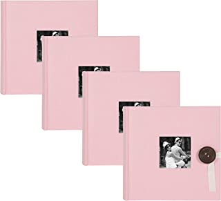 DesignOvation Kim Fabric Photo Albums with Ribbon and Button Closures, Holds 200 4x6 Photos, Set of 4, Pink