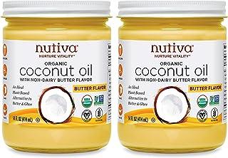 Nutiva Organic Coconut Oil with Non-Dairy Butter Flavor, 14 Ounce (Pack of 2) | USDA Organic, Non-GMO | Vegan & Gluten-Fre...